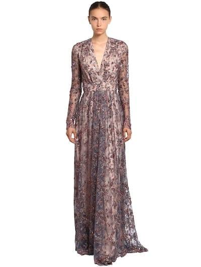 INGIE PARIS Embellished Tulle Long Multicolored Dress