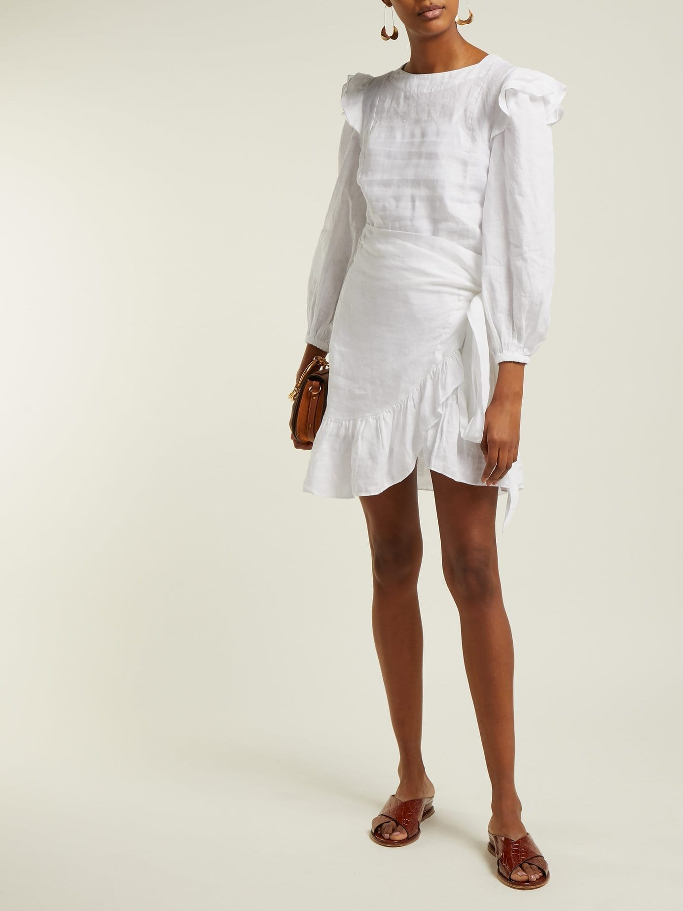 5374480cf9e ISABEL MARANT ÉTOILE Telicia Ruffle-trim Linen White Dress - We ...
