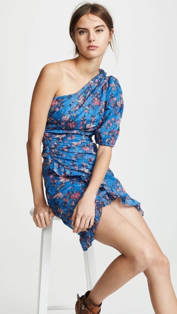 ISABEL MARANT ETOILE Esther One Shoulder Blue / Floral Printed Dress