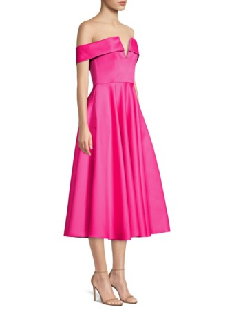 JAY GODFREY Hays Off-The-Shoulder Pleated Fuchsia Dress