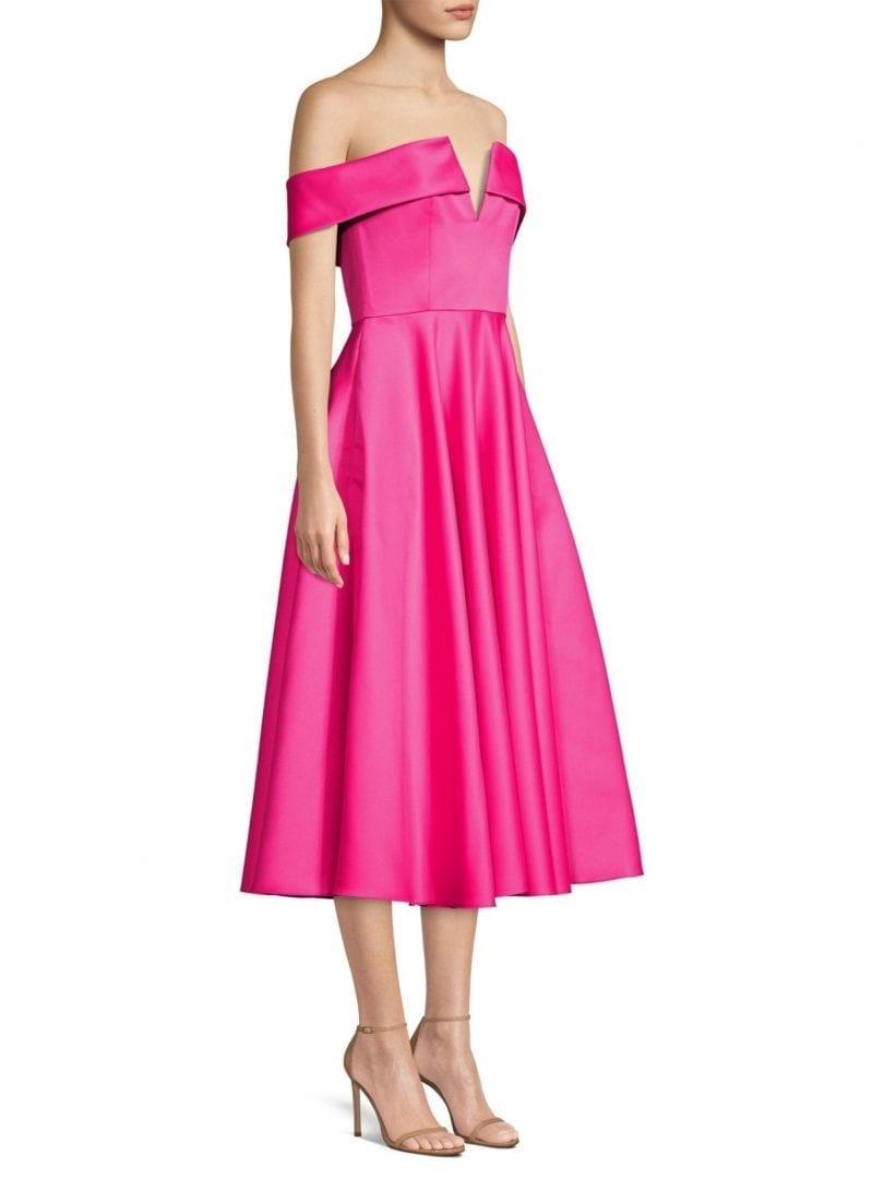 JAY GODFREY Hays Off-The-Shoulder Pleated Fuchsia Dress