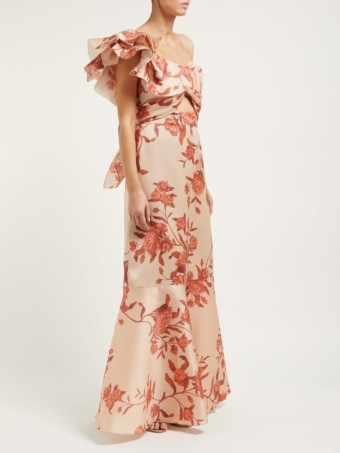 JOHANNA ORTIZ Encanto One-shoulder Silk Beige / Floral Printed Gown