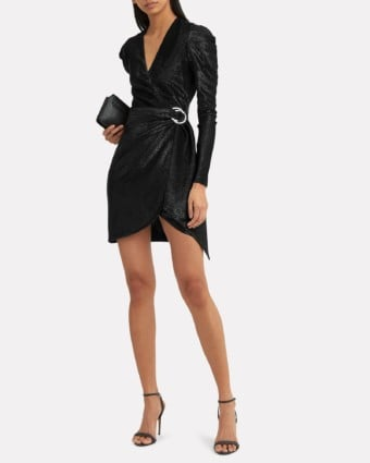 JONATHAN SIMKHAI Puff Shoulder Metallic Black Dress