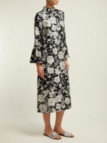 LA DOUBLEJ Happy Wrist Lungo Lilium-print Silk Black Dress