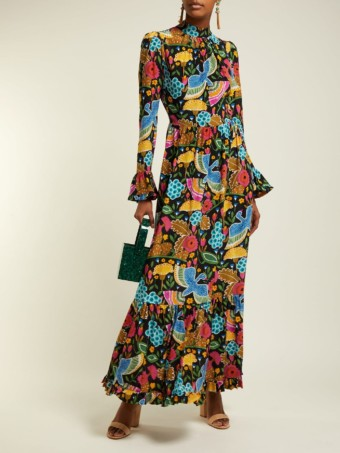 LA DOUBLEJ Visconti Colombo-print Silk Black Dress