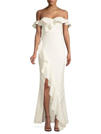 LIKELY Miller Off-The-Shoulder Ruffled White Gown
