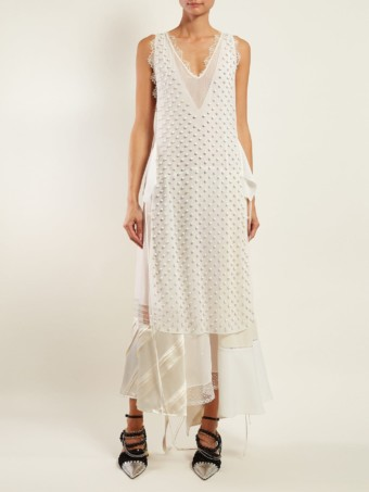 LOEWE Beaded Panelled Chiffon White Dress