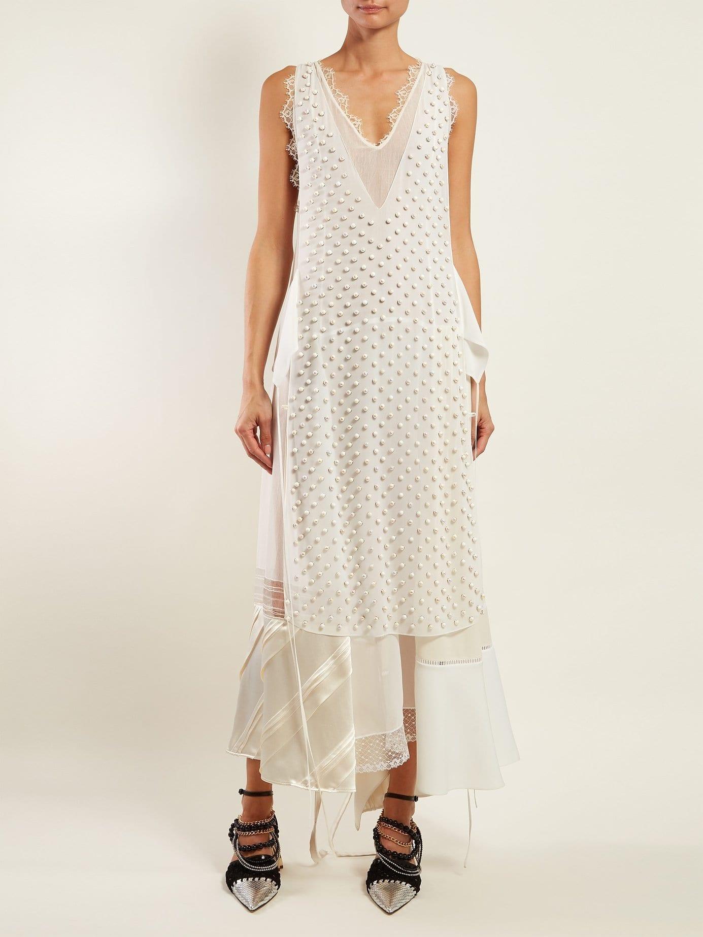LOEWE Beaded Panelled Chiffon White Dress