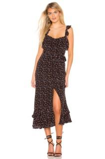LOVERS + FRIENDS Nova Midi Black / Printed Dress
