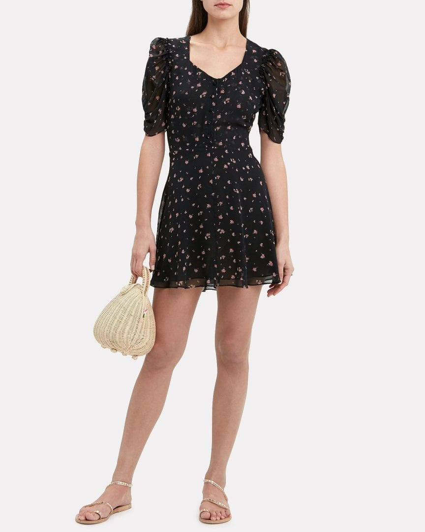 LOVESHACKFANCY Cora Mini Black / Floral Printed Dress