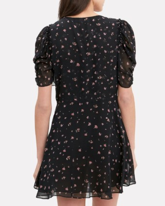 LOVESHACKFANCY Cora Mini Black / Floral Printed Dress