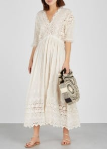 LOVESHACKFANCY Delfina Eyelet-embroidered Voile Cream Dress