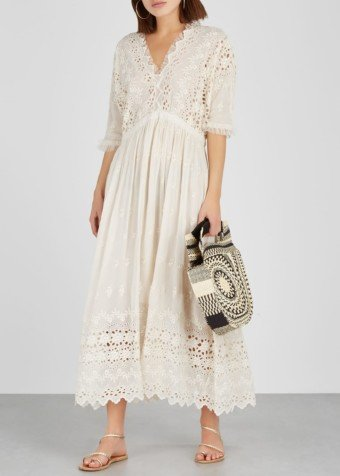 LOVESHACKFANCY Delfina Eyelet-embroidered Voile Cream Dress