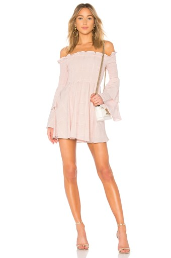 LPA Smocked Mini Blush Dress