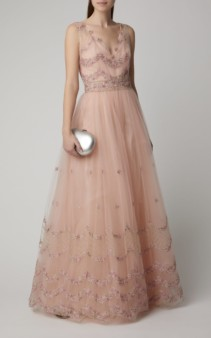 LUISA BECCARIA Embroidered Tulle Pink Ballgown