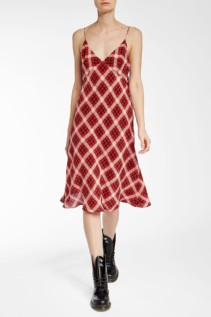 MARC JACOBS Plaid Silk Cami Red Dress