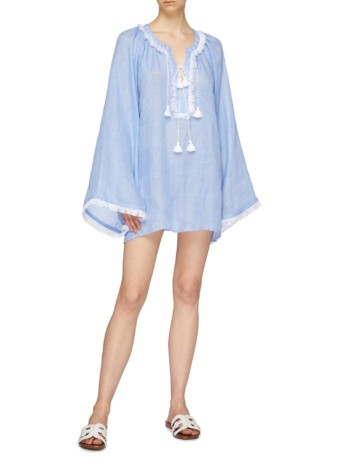 MARCH11 'Jakarta' Fringe Tassel Linen Light Blue Blouse