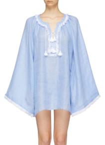 MARCH11 'Jakarta' Fringe Tassel Linen Light Blue Blouse