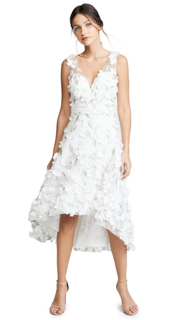 MARCHESA NOTTE Flower Petals High Low Cocktail Ivory Dress