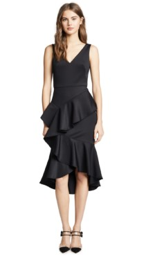 MARCHESA NOTTE Sleeveless Embroidered Stretch Cocktail Black Dress