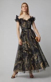 MARCHESA Off-The-Shoulder Silk Organza Navy Gown