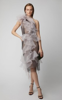 MARCHESA One-Shoulder Organza Purple Dress