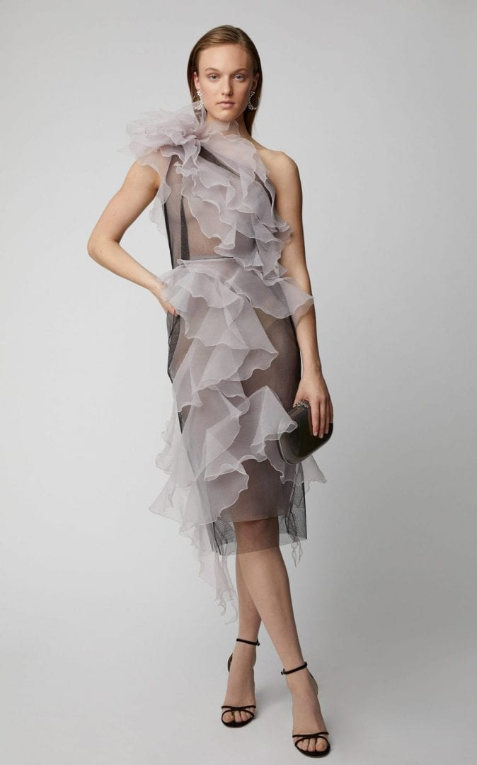 MARCHESA One-Shoulder Organza Purple Dress