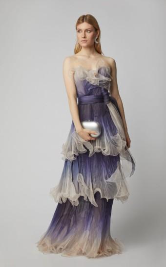 MARCHESA Pleated Organza Blue Gown