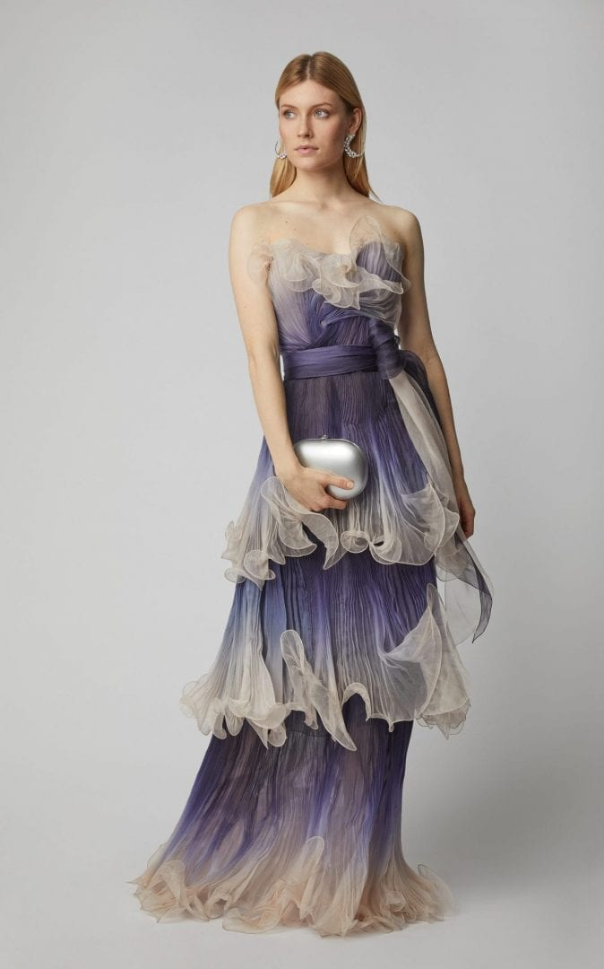 MARCHESA Pleated Organza Blue Gown