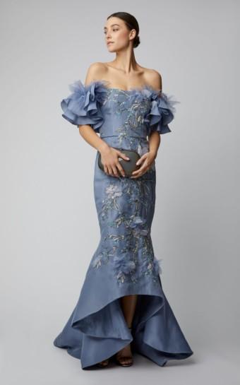 MARCHESA Ruffled Silk Organza Purple Gown