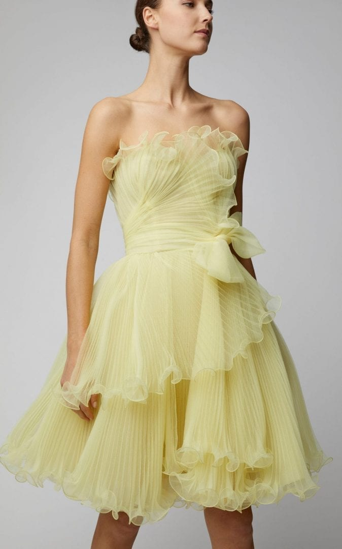 MARCHESA Strapless Bustier Organza Mini Yellow Dress