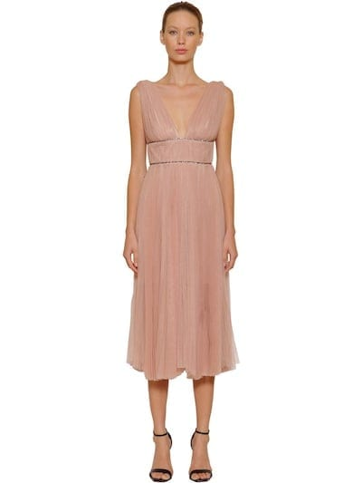 MARIA LUCIA HOHAN Embellished & Pleated Tulle Midi Pink Dress