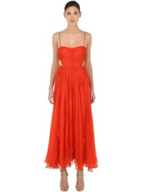 MARIA LUCIA HOHAN Embellishment Cut Out Silk Midi Red Dress