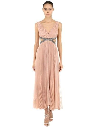 MARIA LUCIA HOHAN Embellishment Pleated Tulle Midi Pink Dress