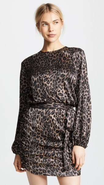 MELISSA ODABASH Short Open Back Cheetah Dress