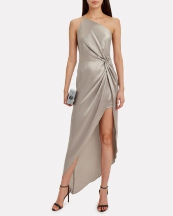 MICHELLE MASON Twist Knot One Shoulder Silver Dress