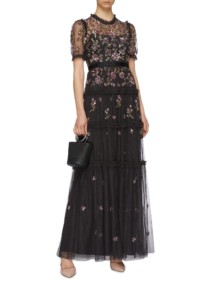 NEEDLE & THREAD 'Carnation Sequin' Ruffle Trim Tiered Tulle Black Gown