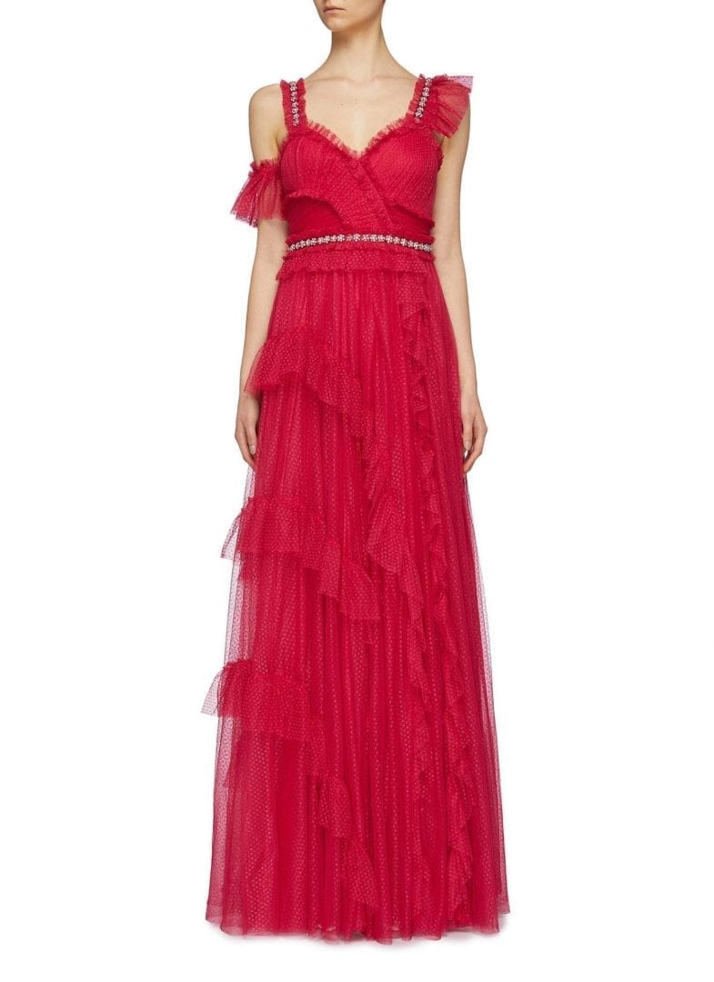 NEEDLE & THREAD 'Degas' Asymmetric Tiered Tulle Fuchsia Gown