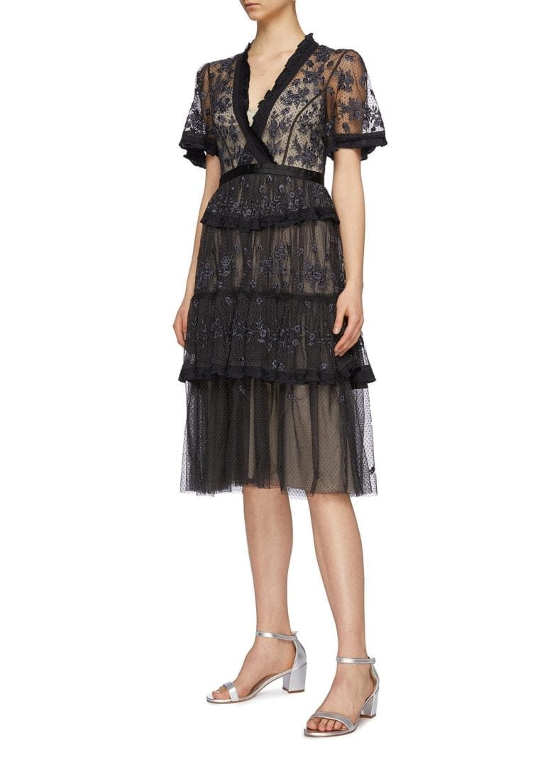 NEEDLE & THREAD 'Fortuny' Floral Embroidered Tiered Tulle Black Dress