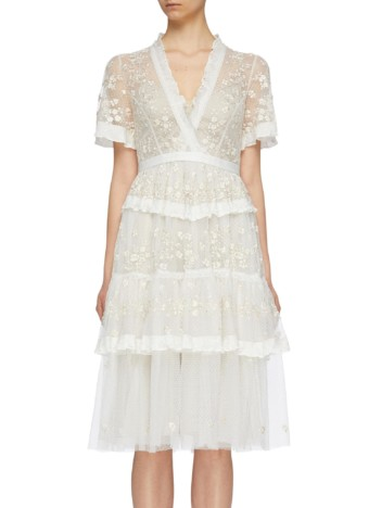 NEEDLE & THREAD 'Fortuny' Floral Embroidered Tiered Tulle Off White Dress