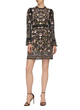 NEEDLE & THREAD 'Marella' Floral Embroidered Beaded Black Dress