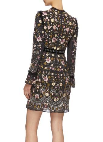 NEEDLE & THREAD 'Marella' Floral Embroidered Beaded Black Dress