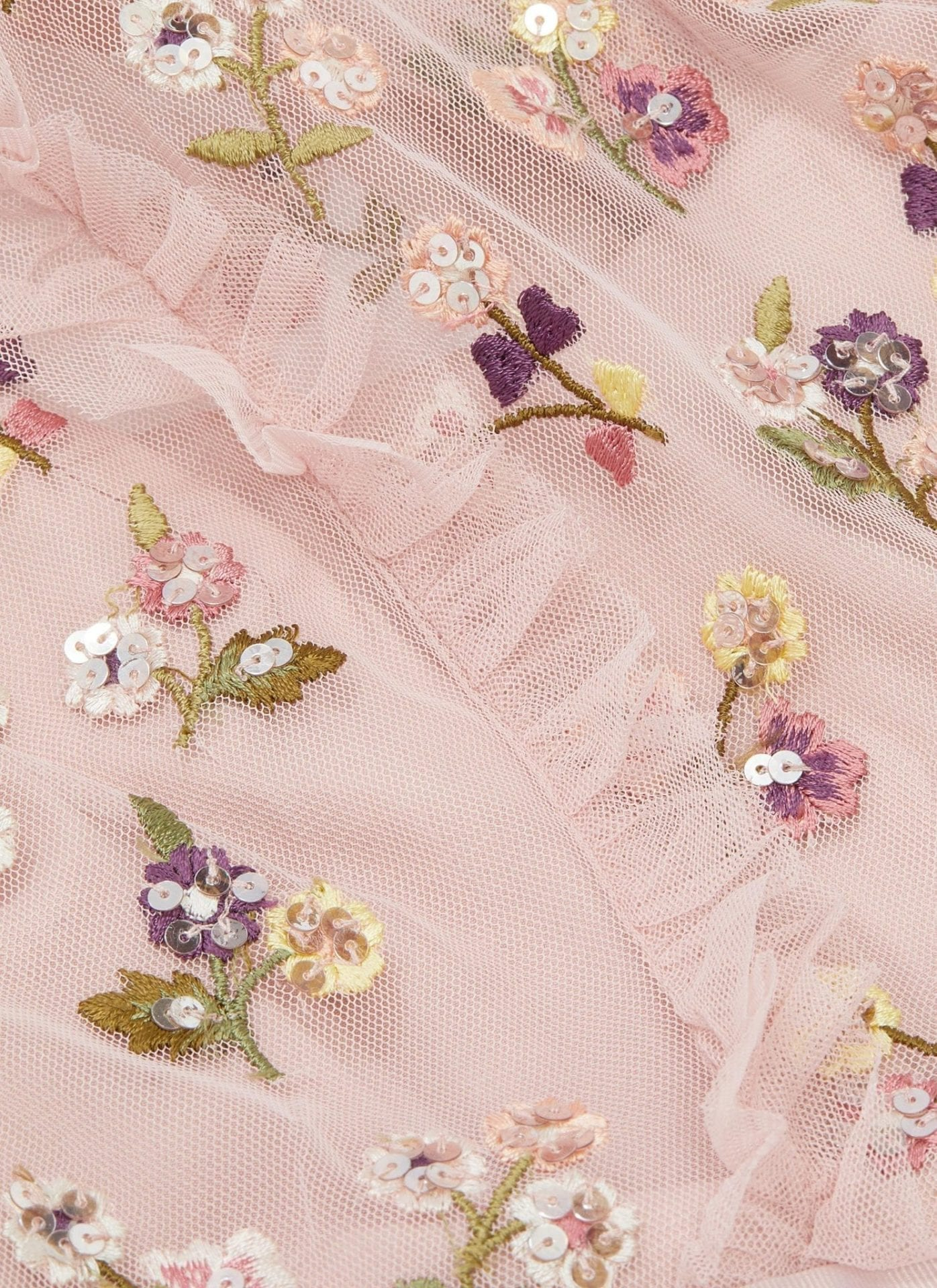 NEEDLE & THREAD 'Rococo Ditsy' Sequin Floral Embroidered Ruffle Tulle Pink Dress