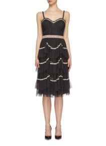 NEEDLE & THREAD 'Venetian Scallop' Floral Trim Tiered Tulle Black Dress