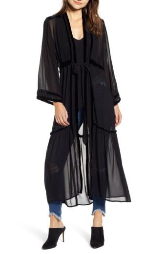NEW FRIENDS COLONY Widow Fabric Kimono Black Dress