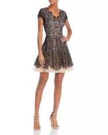 NHA KHANH Floral Lace Black Dress