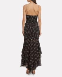 NICHOLAS Polka Dot Ruched Maxi Black Dress