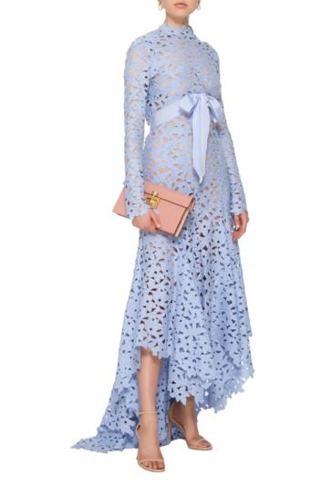 OSCAR DE LA RENTA Asymmetric Floral Eyelet Blue Gown