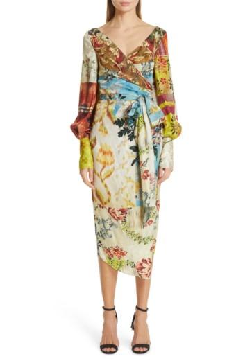 OSCAR DE LA RENTA Patchwork Silk Wrap Multi / Floral Printed Dress