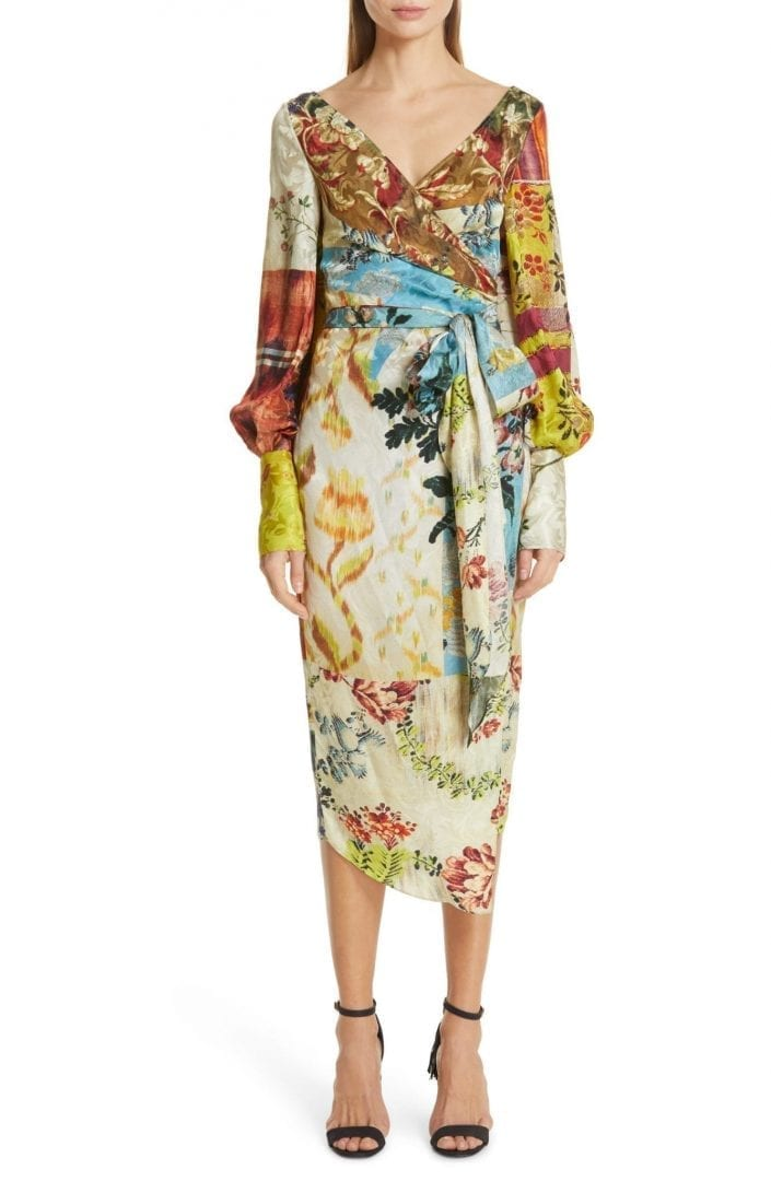 OSCAR DE LA RENTA Patchwork Silk Wrap Multi / Floral Printed Dress